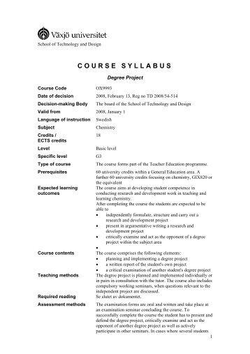 COURSE SYLLABUS - student . vxu . se