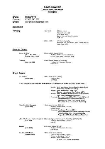 cinematographer resume edouardpagnierco - Cinematographer Sample Resume