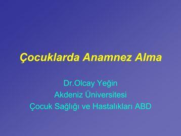 Çocuklarda Anamnez Alma - Akdeniz Üniversitesi