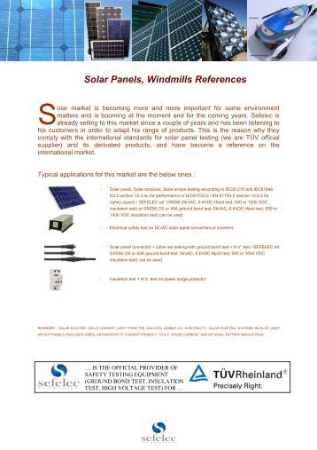 Solar Panels, Windmills References - Sefelec