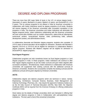 DEGREE AND DIPLOMA PROGRAMS