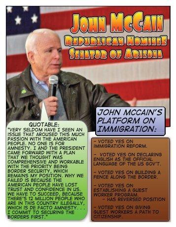 John Mccain's Platform on Immigration: