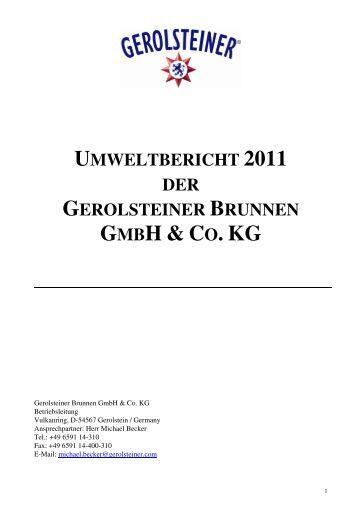 UMWELTBERICHT 2011 DER GEROLSTEINER BRUNNEN GMBH ...
