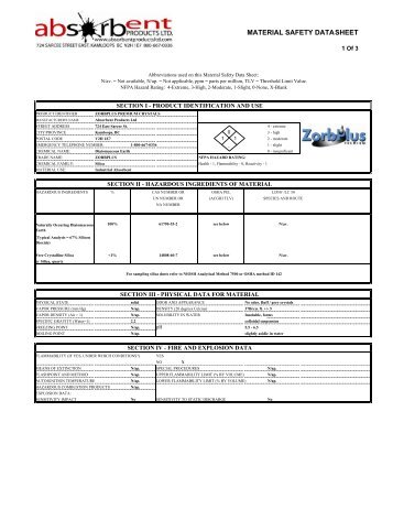 MSDS - Zorb Plus Premium Crystals - Absorbent Products Ltd