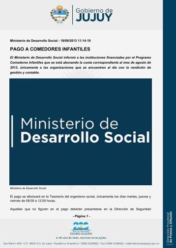 PAGO A COMEDORES INFANTILES - Dirección de Prensa