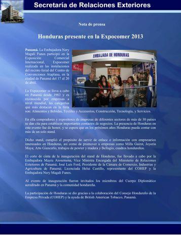 Honduras presente en la Expocomer 2013 - Secretaría de ...