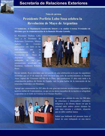 Presidente Porfirio Lobo Sosa celebra la Revolución de Mayo de ...