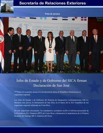 Jefes de Estado y de Gobierno del SICA firman Declaración de San ...