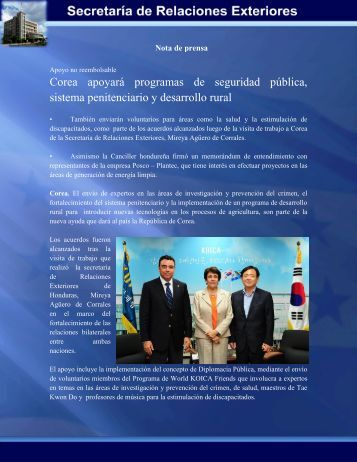 Corea apoyará programas de seguridad pública, sistema ...