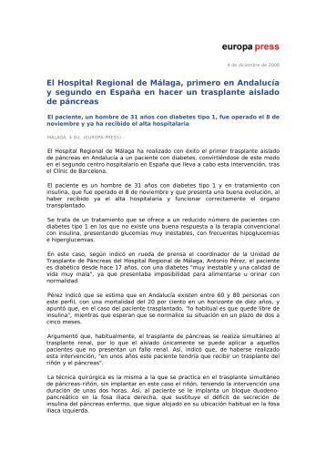 El Hospital Regional de Málaga, primero en Andalucía y segundo ...