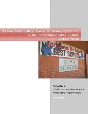 A Case Study of Mary Jane Sims Elementary - Department of ...