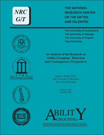 An Analysis of the Research on Ability Grouping: Historical and ...
