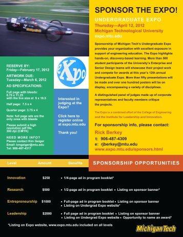 sponsor the expo! - Undergraduate Expo - Michigan Technological ...