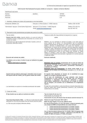 Contrato Tarjeta Comercio - Agrupación de Comerciantes Segovianos