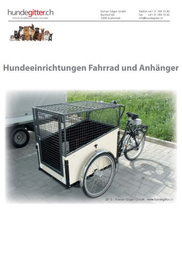 Hundeeinrichtungen Fahrrad und Anhänger