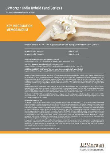 JPMorgan India Hybrid Fund Series 1 - JP Morgan Asset Management
