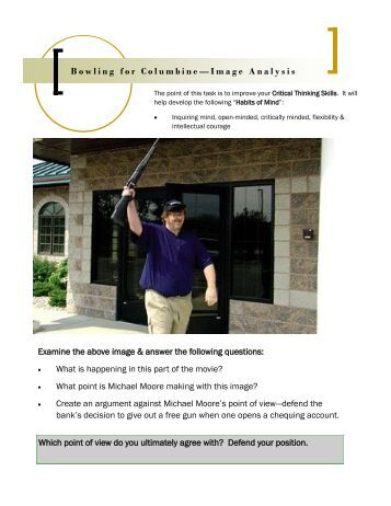 bowling for columbine essay analysis Free college essay an analysis of bowling for columbine michael moore made a political documentary called bowling for columbine and in it, he relayed the fact that.