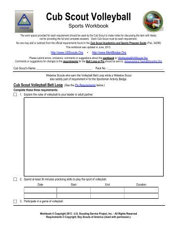 Cub Scout Volleyball Worksheet - Merit Badge Research Center