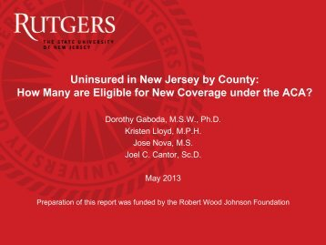 Uninsured in New Jersey by County - Center for State Health Policy