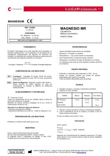 MAGNESIO MR - LINEAR CHEMICALS