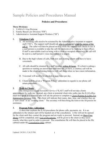administrative policies and procedures manual