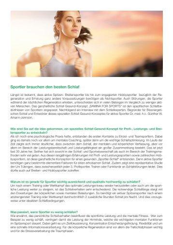 SAMINA Beitrag von Schlafpsychologe Dr. med. h.c. Günther W. Amann-Jennson - Sportler brauchen den besten Schlaf