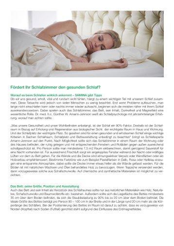 SAMINA Beitrag von Schlafpsychologe Dr. med. h.c. Günther W. Amann-Jennson - Fördert Ihr Schlafzimmer den gesunden Schlaf?