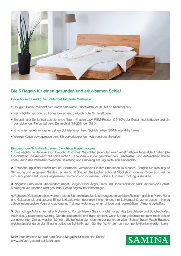 SAMINA Beitrag von Schlafpsychologe Dr. med. h.c. Günther W. Amann-Jennson - Die 5 Regeln für einen gesunden und erholsamen Schlaf