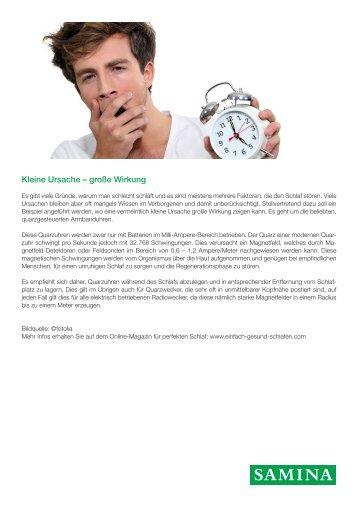 SAMINA Beitrag von Schlafpsychologe Dr. med. h.c. Günther W. Amann-Jennson - Kleine Ursache – große Wirkung