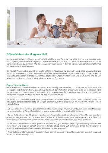 SAMINA Beitrag von Schlafpsychologe Dr. med. h.c. Günther W. Amann-Jennson - Frühaufsteher oder Morgenmuffel?