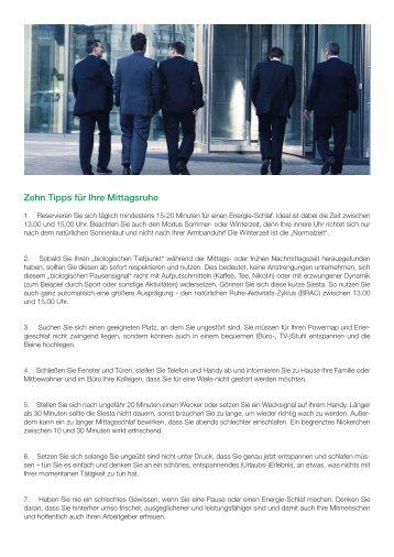 SAMINA Beitrag von Schlafpsychologe Dr. med. h.c. Günther W. Amann-Jennson - Zehn Tipps für Ihre Mittagsruhe