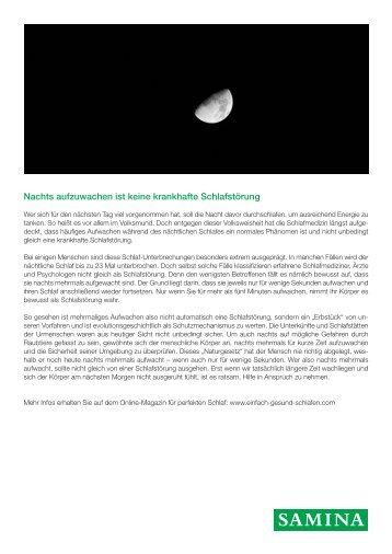 SAMINA Beitrag von Schlafpsychologe Dr. med. h.c. Günther W. Amann-Jennson - Nachts aufzuwachen ist keine krankhafte Schlafstörung