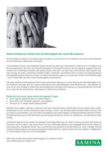 SAMINA Beitrag von Schlafpsychologe Dr. med. h.c. Günther W. Amann-Jennson - Nicht erholsamer Schlaf und die Wichtigkeit der work-life-balance