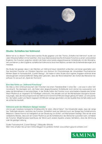 SAMINA Beitrag von Schlafpsychologe Dr. med. h.c. Günther W. Amann-Jennson - Studie: Schlaflos bei Vollmond