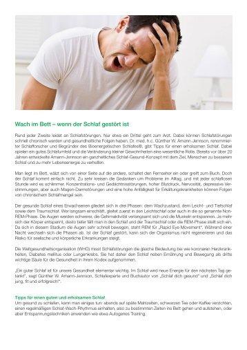 SAMINA Beitrag von Schlafpsychologe Dr. med. h.c. Günther W. Amann-Jennson - Wach im Bett – wenn der Schlaf gestört ist