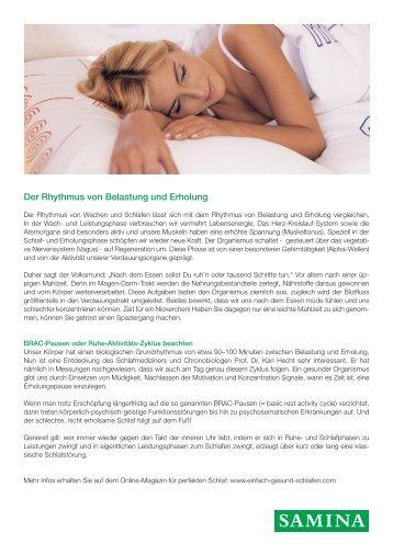 SAMINA Beitrag von Schlafpsychologe Dr. med. h.c. Günther W. Amann-Jennson - Der Rhythmus von Belastung und Erholung