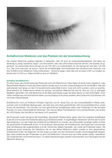 SAMINA Beitrag von Schlafpsychologe Dr. med. h.c. Günther W. Amann-Jennson - Schlafhormon Melatonin und das Problem mit der Innenbeleuchtung