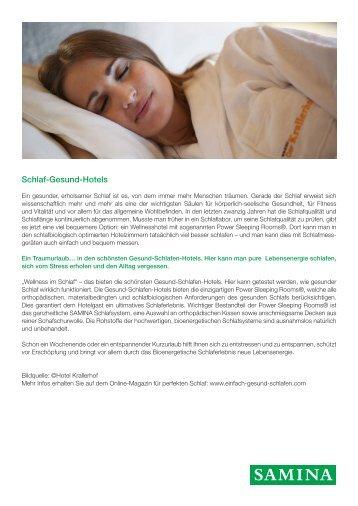 SAMINA Beitrag von Schlafpsychologe Dr. med. h.c. Günther W. Amann-Jennson - Schlaf-Gesund-Hotels