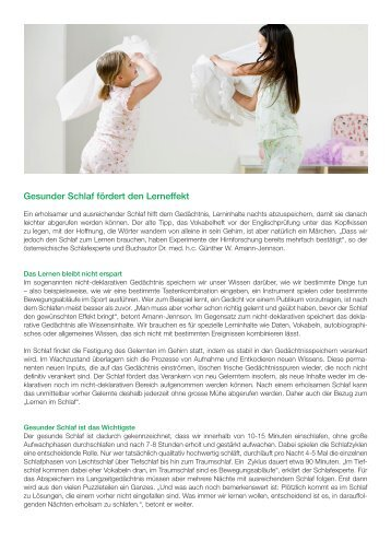 SAMINA Beitrag von Schlafpsychologe Dr. med. h.c. Günther W. Amann-Jennson - Gesunder Schlaf fördert den Lerneffekt
