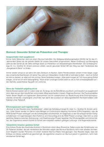 SAMINA Beitrag von Schlafpsychologe Dr. med. h.c. Günther W. Amann-Jennson - Burnout: Gesunder Schlaf als Prävention und Therapie