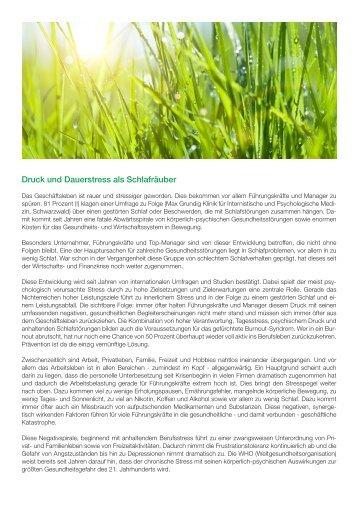 SAMINA Beitrag von Schlafpsychologe Dr. med. h.c. Günther W. Amann-Jennson - Druck und Dauerstress als Schlafräuber