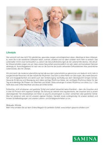 SAMINA Beitrag von Schlafpsychologe Dr. med. h.c. Günther W. Amann-Jennson - Lifestyle