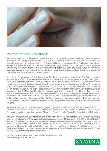 SAMINA Beitrag von Schlafpsychologe Dr. med. h.c. Günther W. Amann-Jennson - Durchschlafen ist kein Naturgesetz