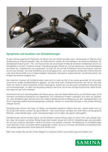 SAMINA Beitrag von Schlafpsychologe Dr. med. h.c. Günther W. Amann-Jennson - Symptome und Auslöser von Schlafstörungen