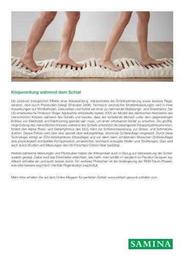 SAMINA Beitrag von Schlafpsychologe Dr. med. h.c. Günther W. Amann-Jennson - Körpererdung während dem Schlaf