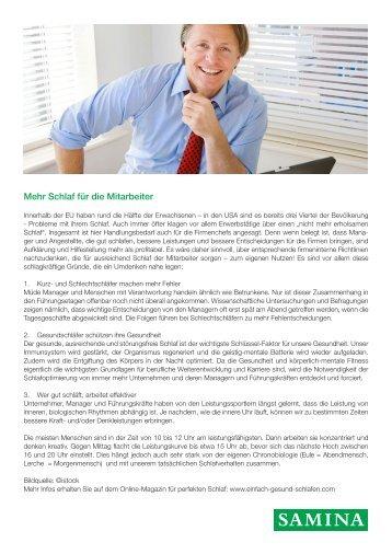 SAMINA Beitrag von Schlafpsychologe Dr. med. h.c. Günther W. Amann-Jennson - Mehr Schlaf für die Mitarbeiter