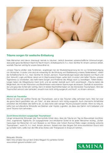 SAMINA Beitrag von Schlafpsychologe Dr. med. h.c. Günther W. Amann-Jennson - Träume sorgen für seelische Entlastung