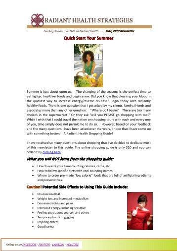 Quick Start Your Summer _ June 2013 - Radiant Health