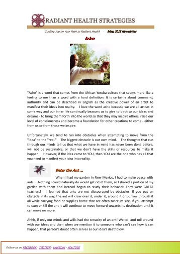 ASHE - May 2013 - Radiant Health