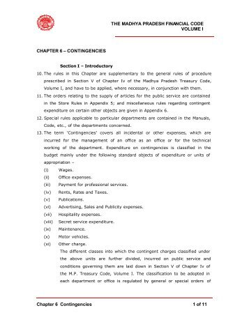 THE MADHYA PRADESH FINANCIAL CODE ... - Mptreasury.org